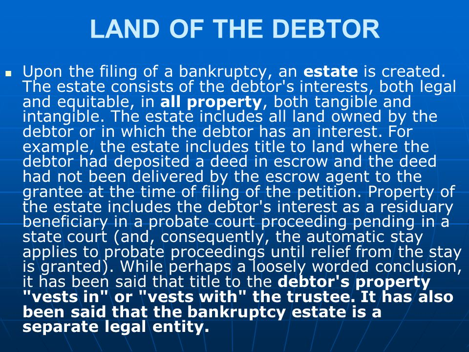 LAND OF THE DEBTOR