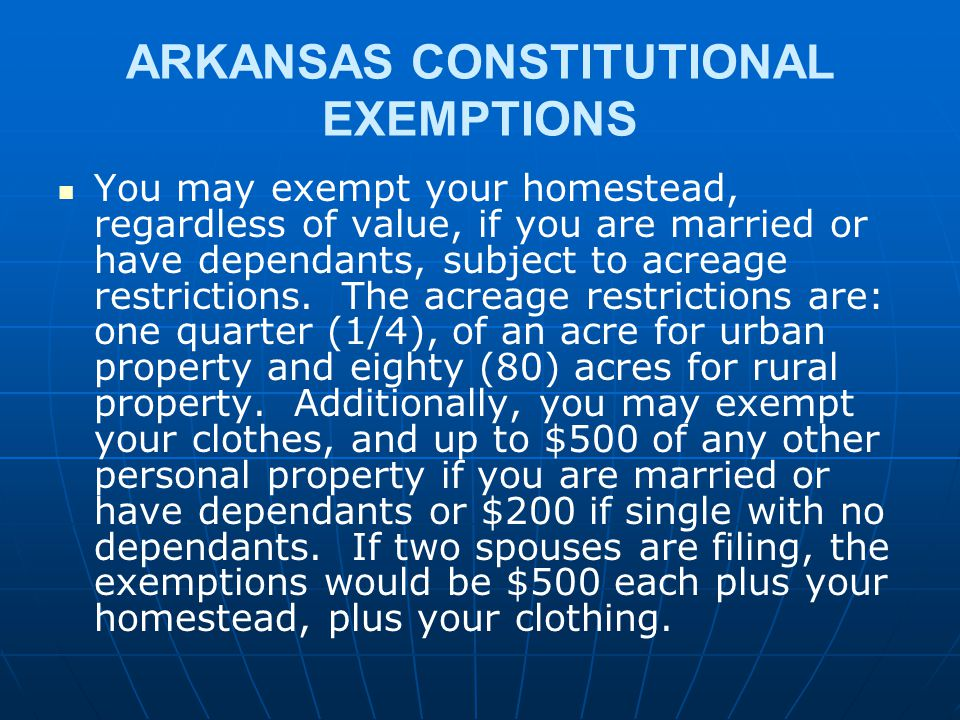 ARKANSAS CONSTITUTIONAL EXEMPTIONS