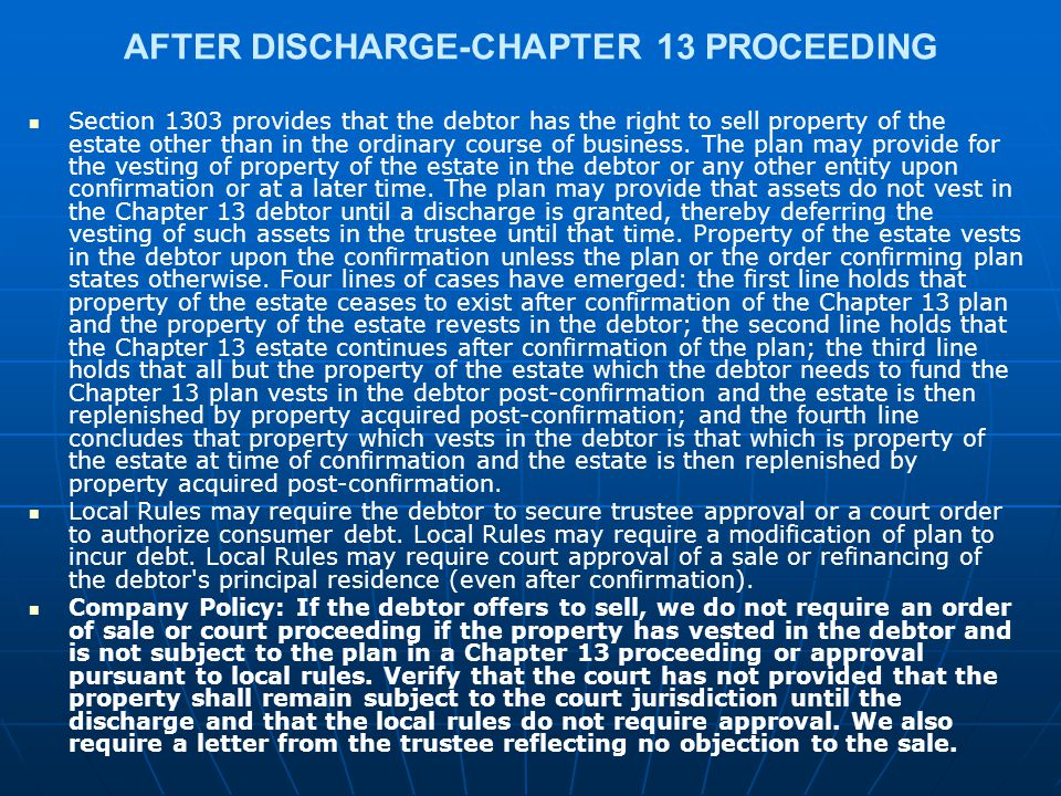 AFTER DISCHARGE-CHAPTER 13 PROCEEDING