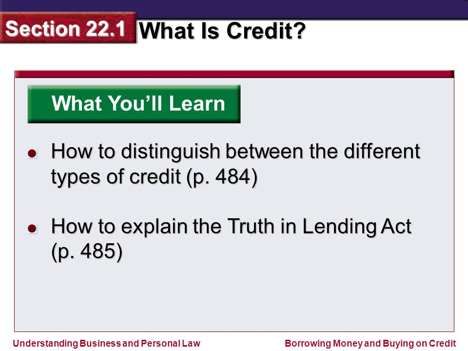 What You'll Learn How to distinguish between the different types of credit (p. 484) How to explain the Truth in Lending Act.