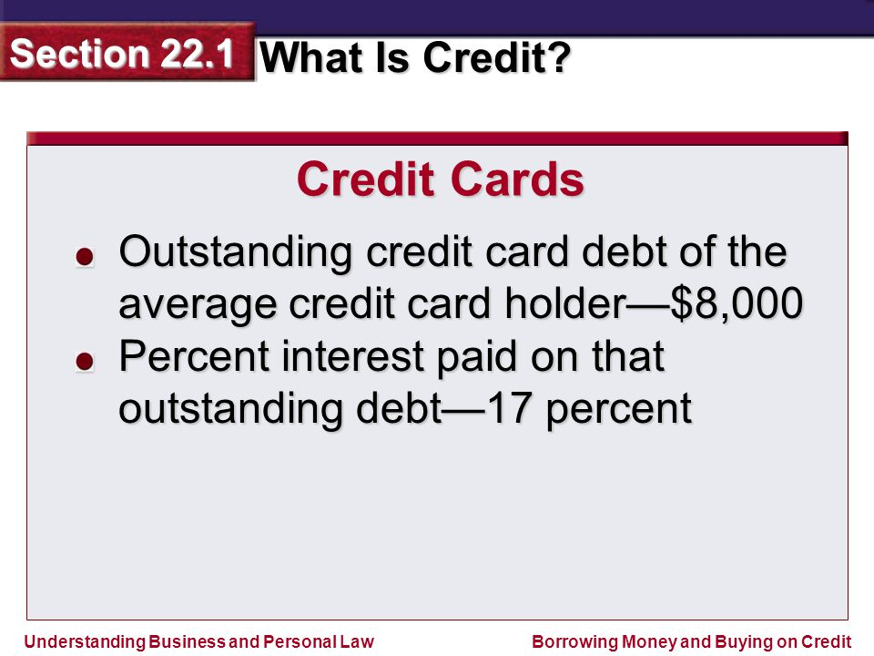 Credit Cards Outstanding credit card debt of the average credit card holder—$8,000.