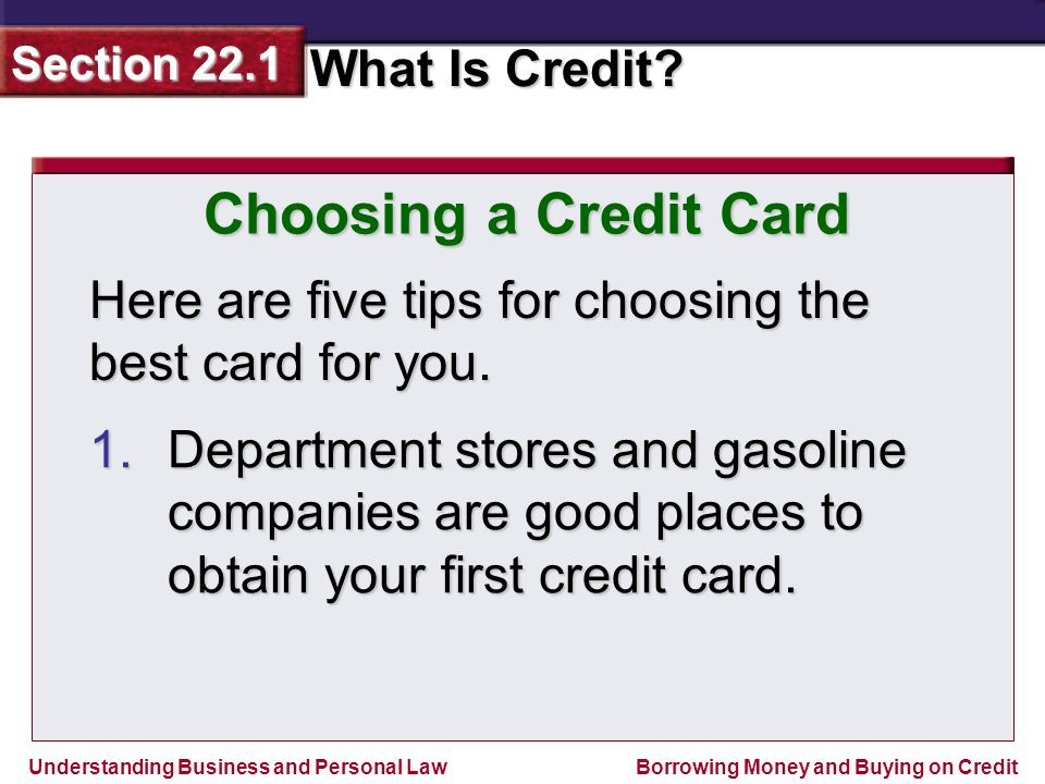 Choosing a Credit Card Here are five tips for choosing the best card for you.