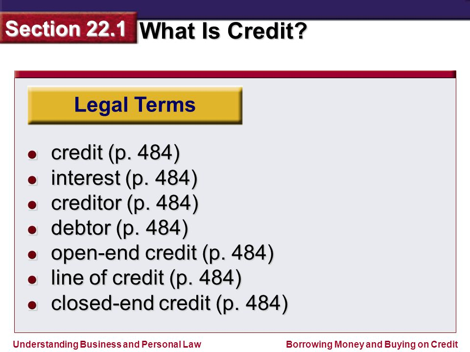 Legal Terms credit (p. 484) interest (p. 484) creditor (p. 484) debtor (p. 484) open-end credit (p. 484)
