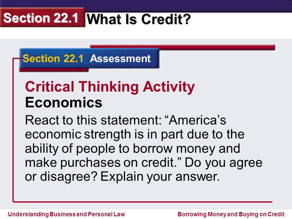 Critical Thinking Activity Economics