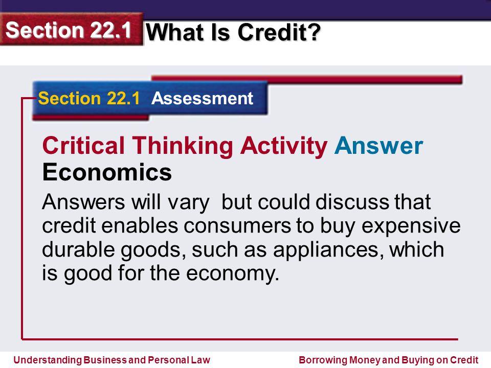 Critical Thinking Activity Answer Economics