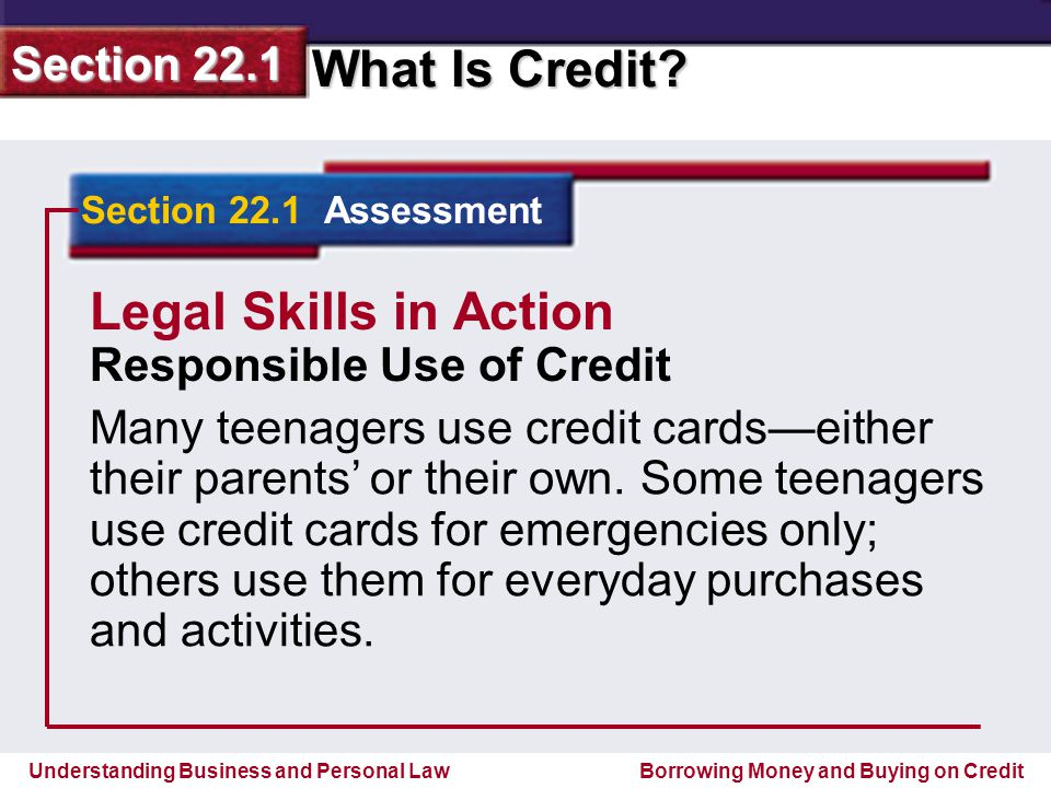 Legal Skills in Action Responsible Use of Credit