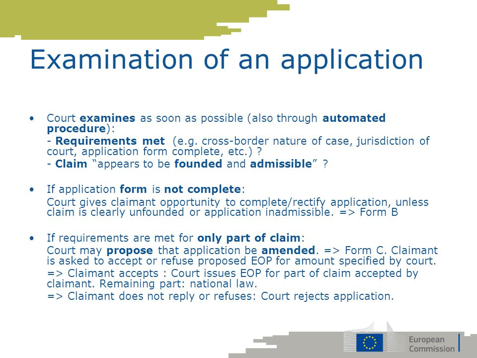 Examination of an application