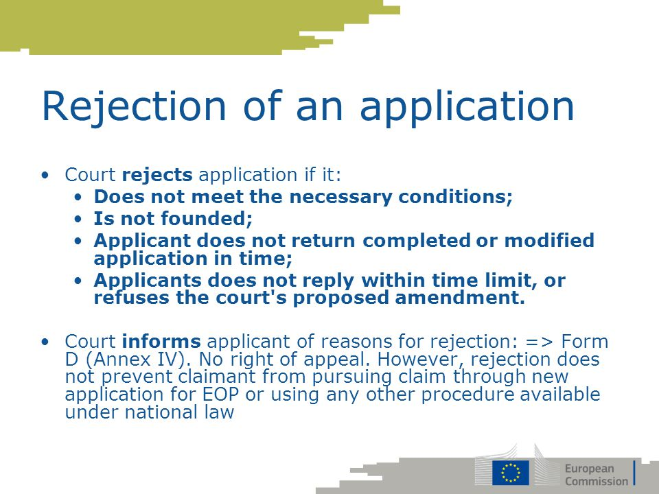 Rejection of an application