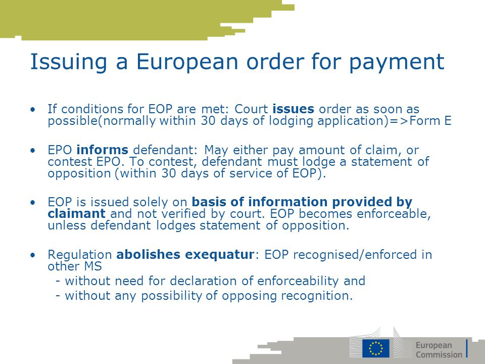 Issuing a European order for payment