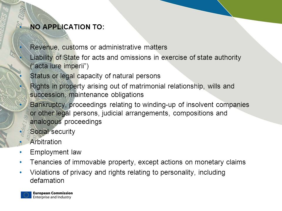 NO APPLICATION TO: Revenue, customs or administrative matters.