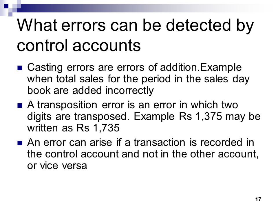 What errors can be detected by control accounts