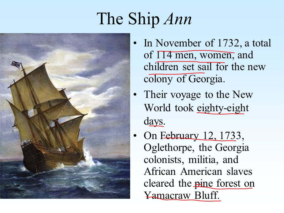 The Ship Ann In November of 1732, a total of 114 men, women, and children set sail for the new colony of Georgia.