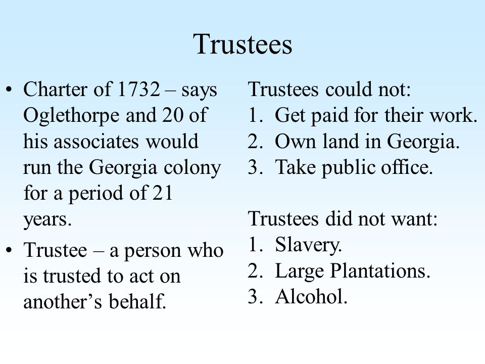 Trustees Charter of 1732 – says Oglethorpe and 20 of his associates would run the Georgia colony for a period of 21 years.