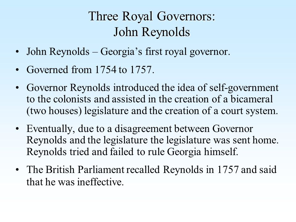 Three Royal Governors: John Reynolds