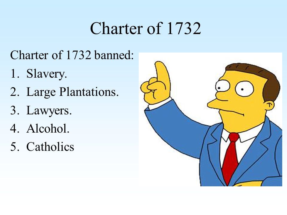 Charter of 1732 Charter of 1732 banned: Slavery. Large Plantations.