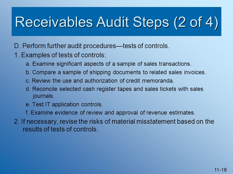 Receivables Audit Steps (2 of 4)