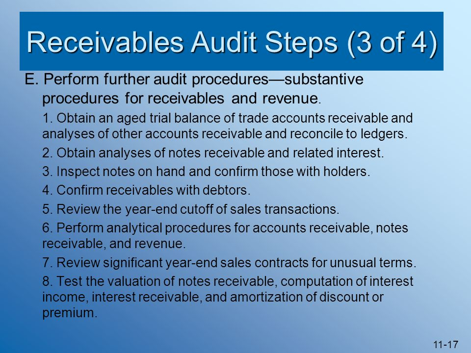 Receivables Audit Steps (3 of 4)