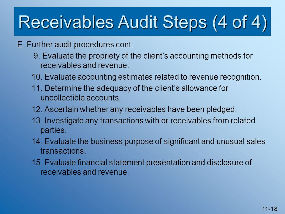 Receivables Audit Steps (4 of 4)