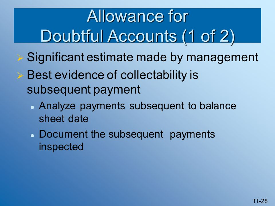 Allowance for Doubtful Accounts (1 of 2)