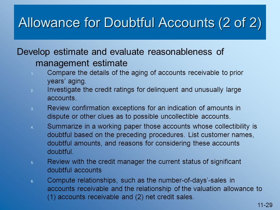 Allowance for Doubtful Accounts (2 of 2)