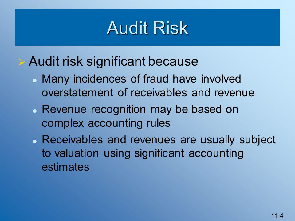 Audit Risk Audit risk significant because