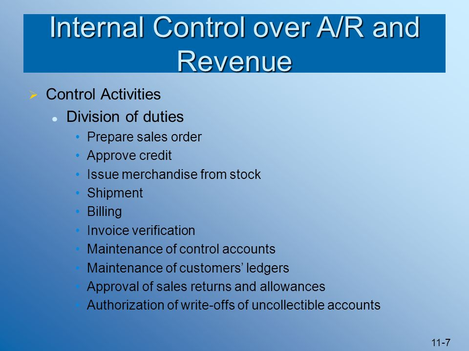 Internal Control over A/R and Revenue