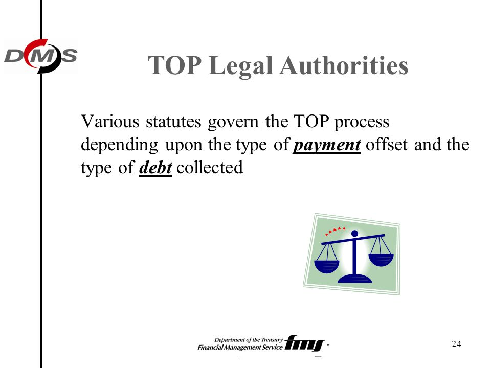 TOP Legal Authorities Various statutes govern the TOP process depending upon the type of payment offset and the type of debt collected.
