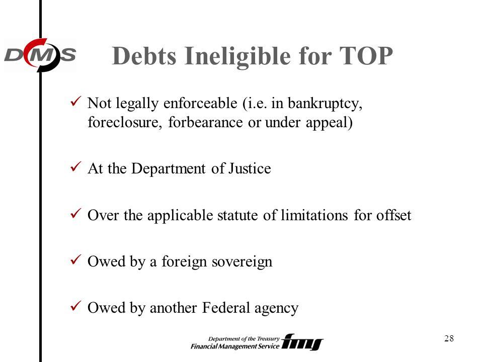 Debts Ineligible for TOP