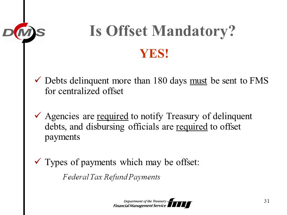 Is Offset Mandatory YES! Federal Tax Refund Payments