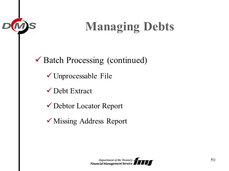 Managing Debts Batch Processing (continued) Unprocessable File