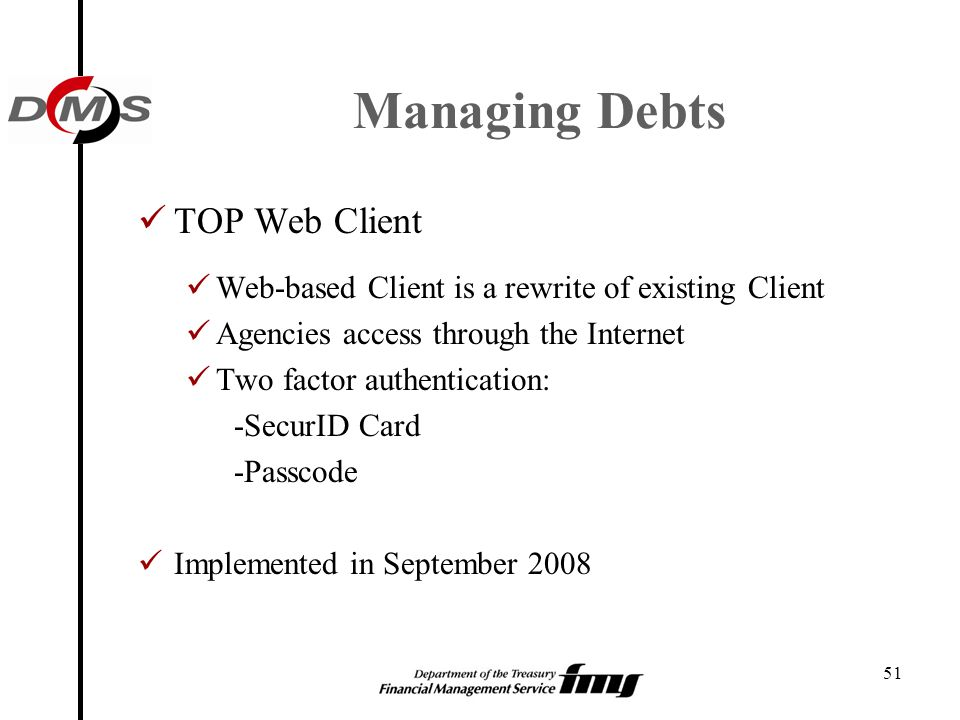 Managing Debts TOP Web Client