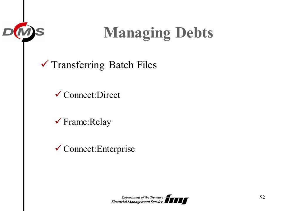 Managing Debts Transferring Batch Files Connect:Direct Frame:Relay