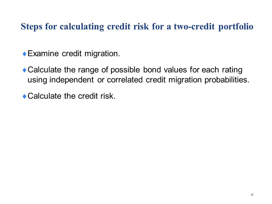 Steps for calculating credit risk for a multiple-credit portfolio