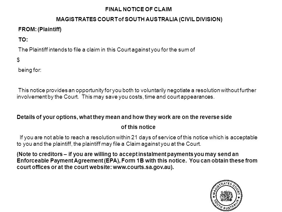 MAGISTRATES COURT of SOUTH AUSTRALIA (CIVIL DIVISION)