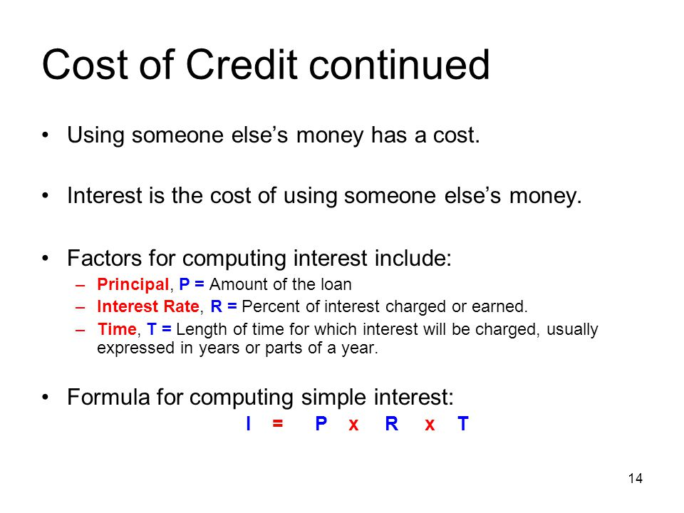 Cost of Credit continued