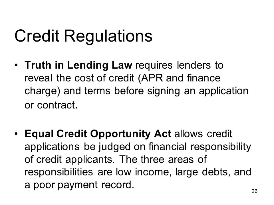 Credit Regulations