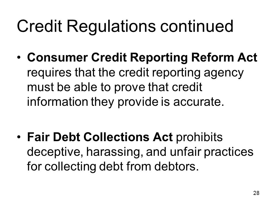 Credit Regulations continued