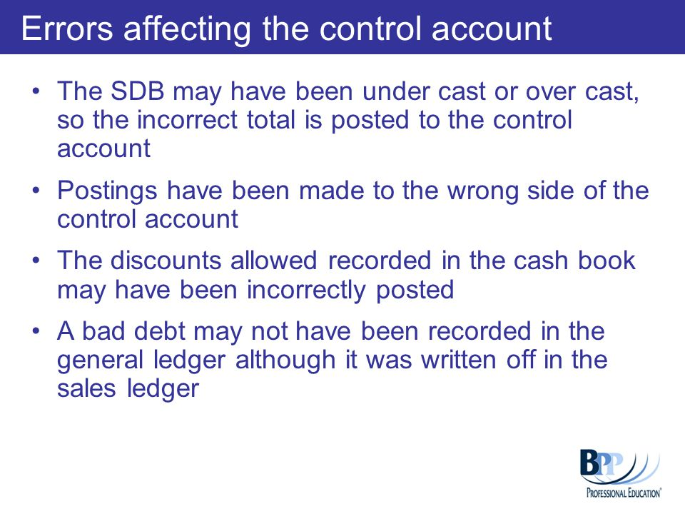 Errors affecting the control account