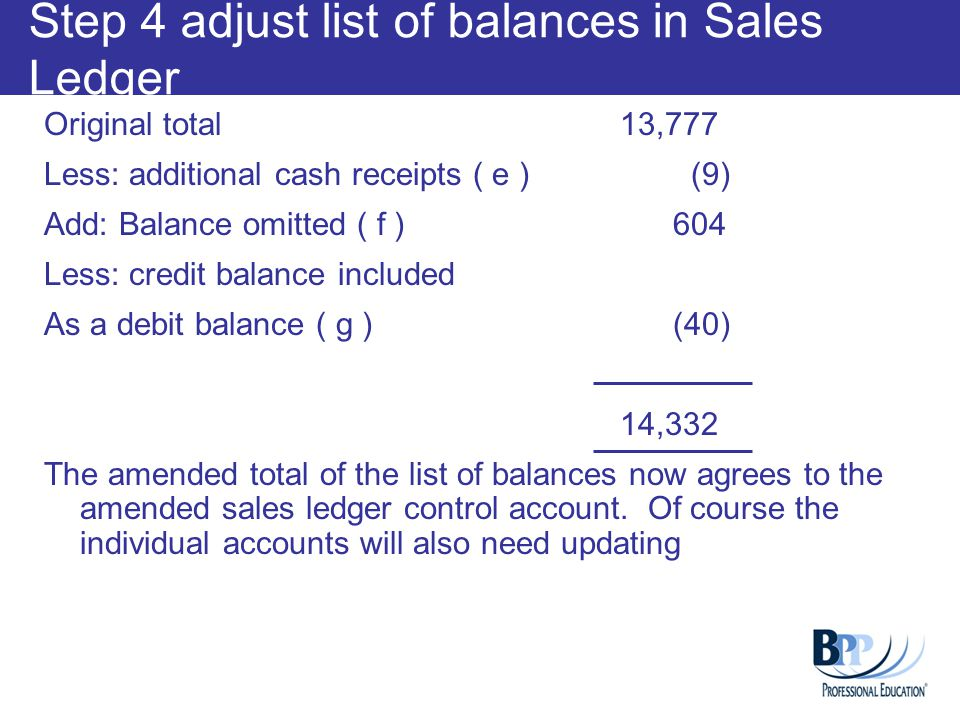 Step 4 adjust list of balances in Sales Ledger