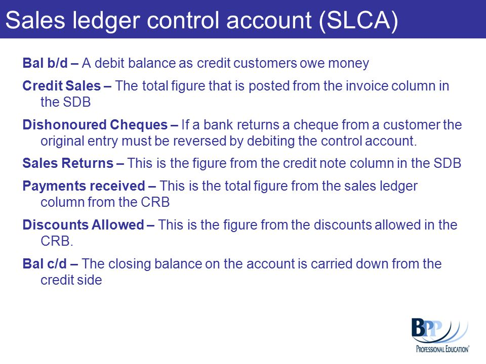 Sales ledger control account (SLCA)