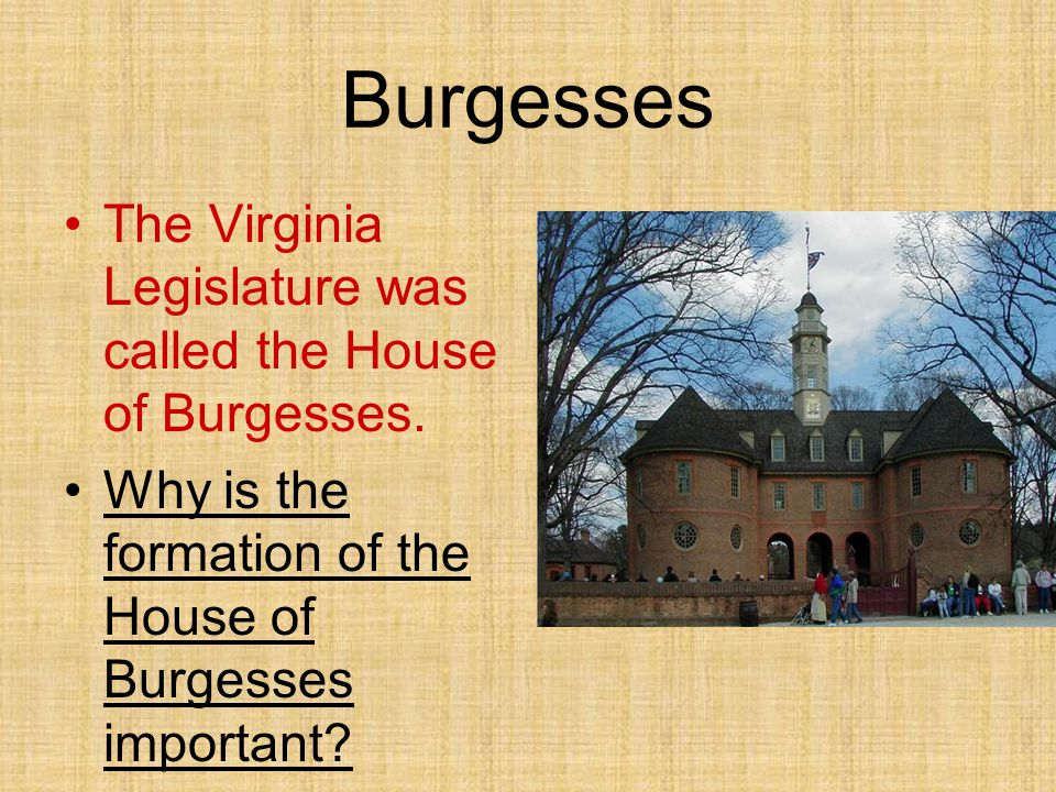 Burgesses The Virginia Legislature was called the House of Burgesses.