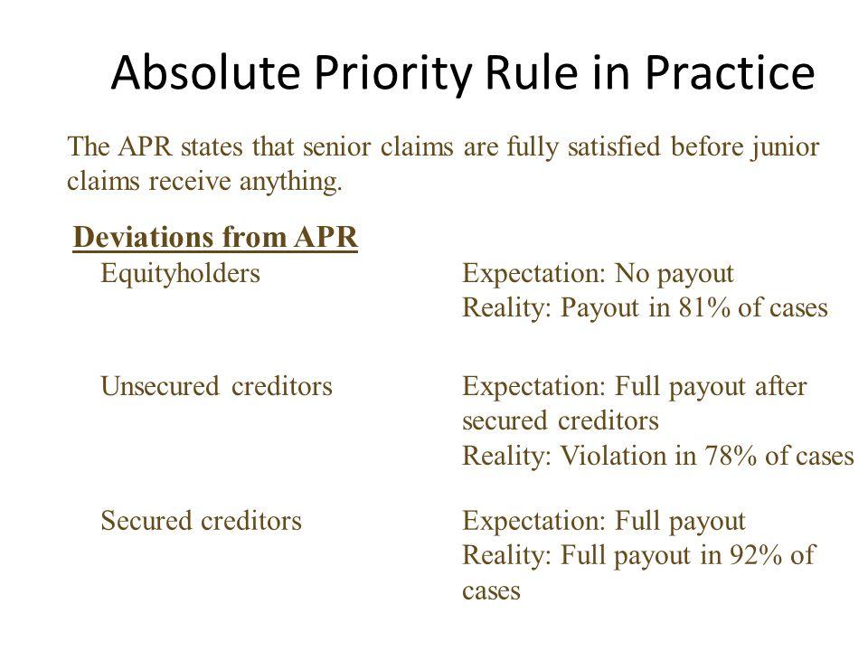 Absolute Priority Rule in Practice