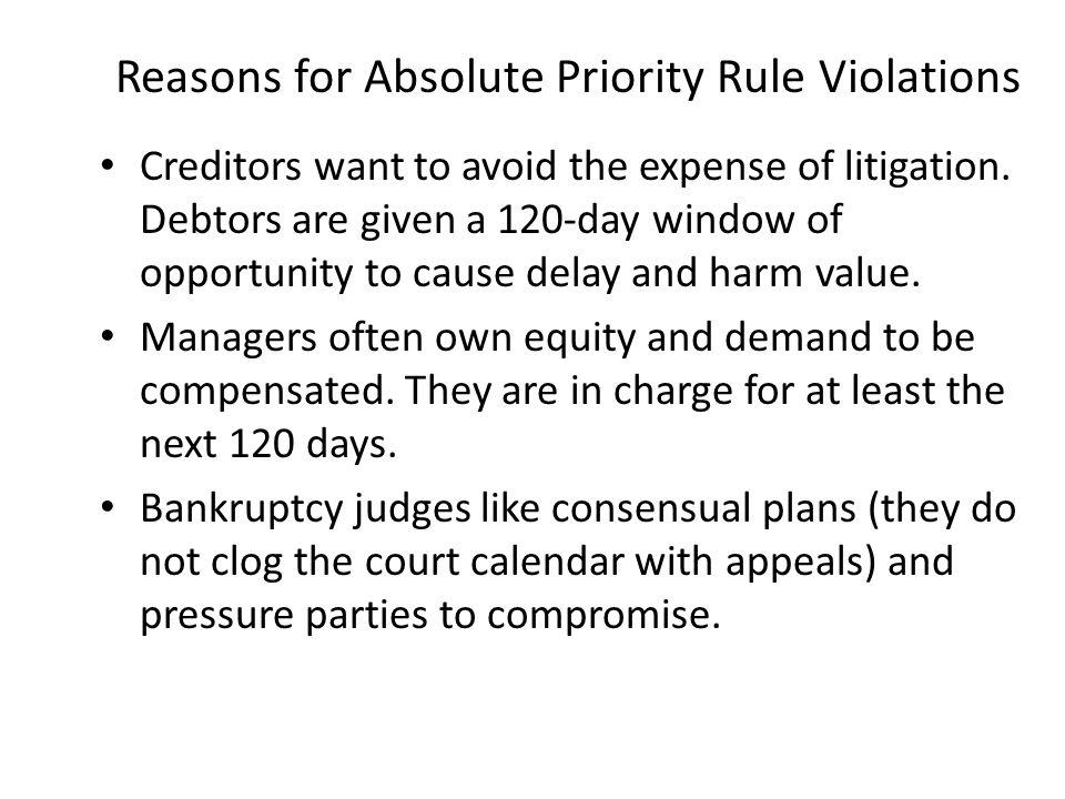 Reasons for Absolute Priority Rule Violations
