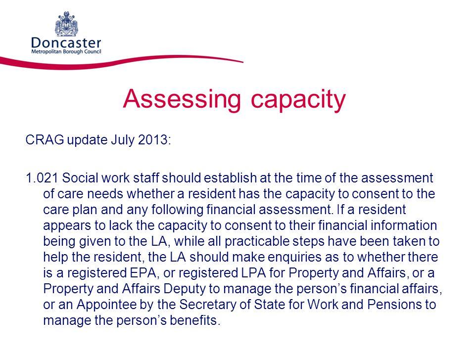 Assessing capacity