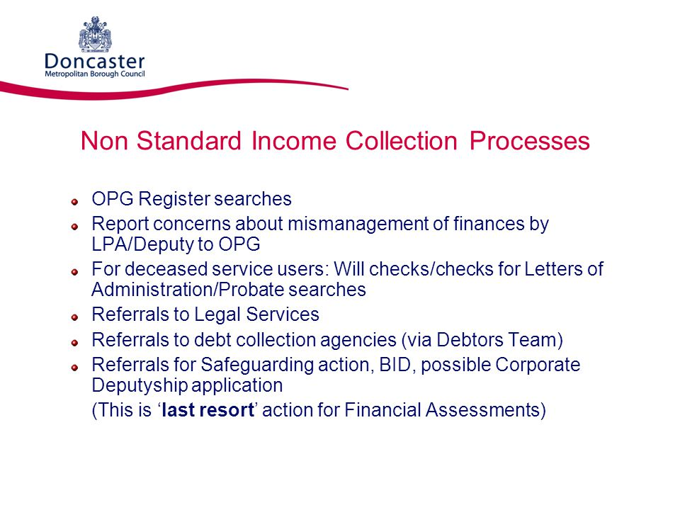 Non Standard Income Collection Processes