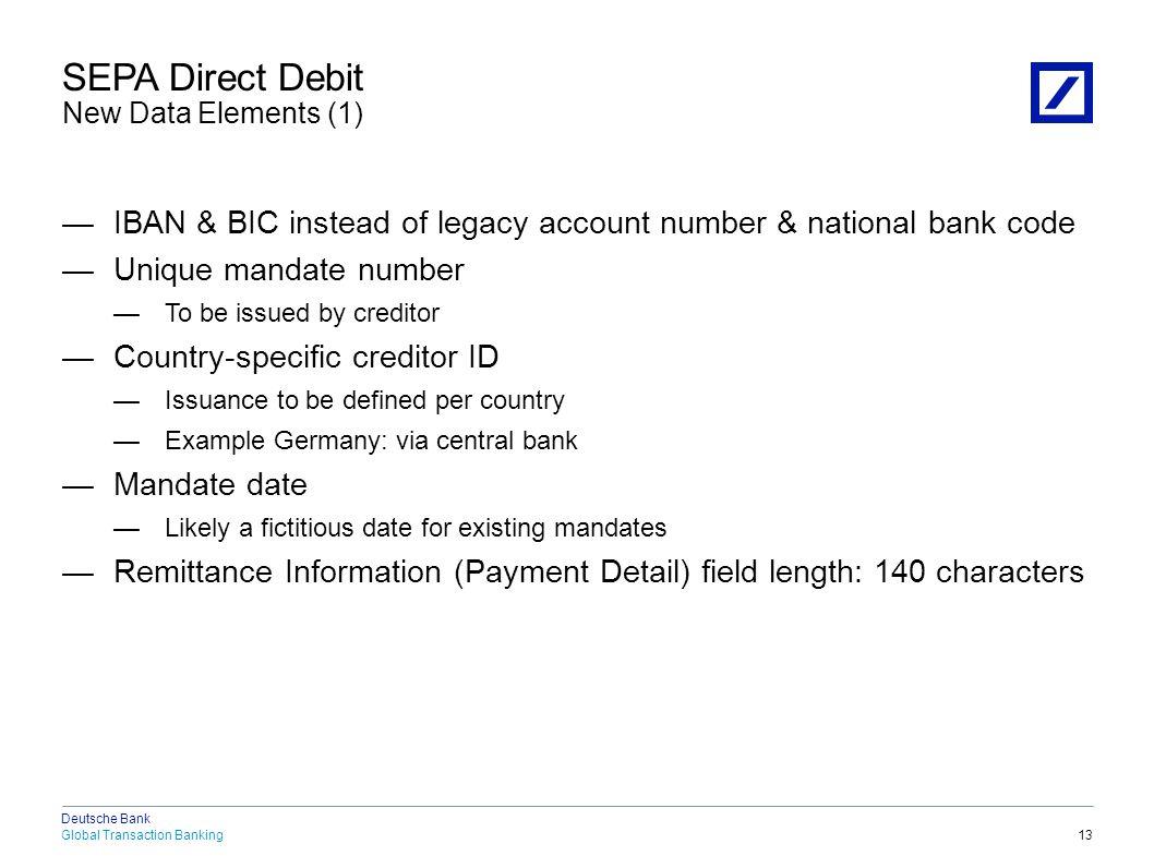 SEPA Direct Debit New Data Elements (2)