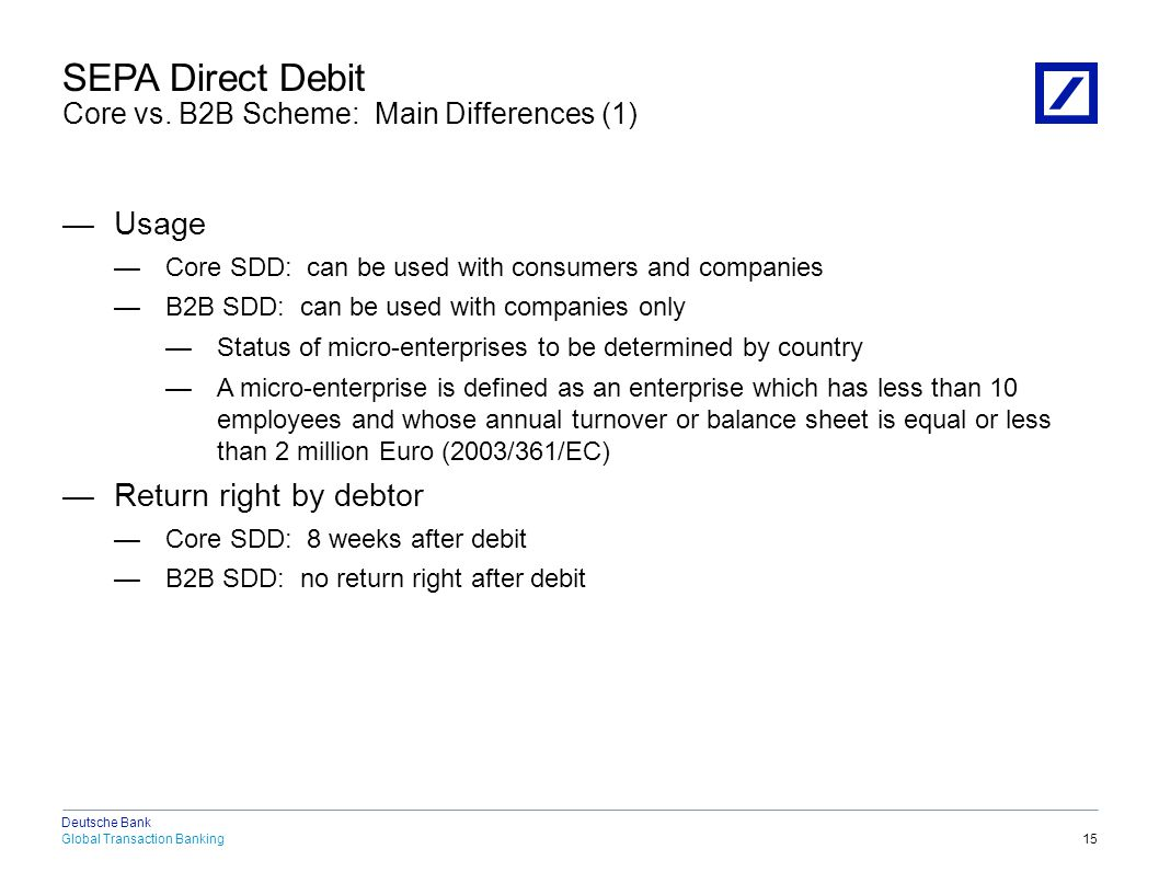 SEPA Direct Debit Core vs. B2B Scheme: Main Differences (2)