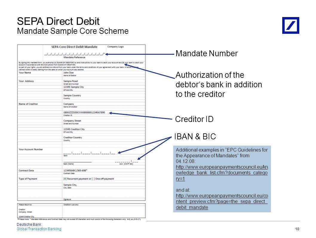 SEPA Direct Debit Mandate Sample B2B Scheme