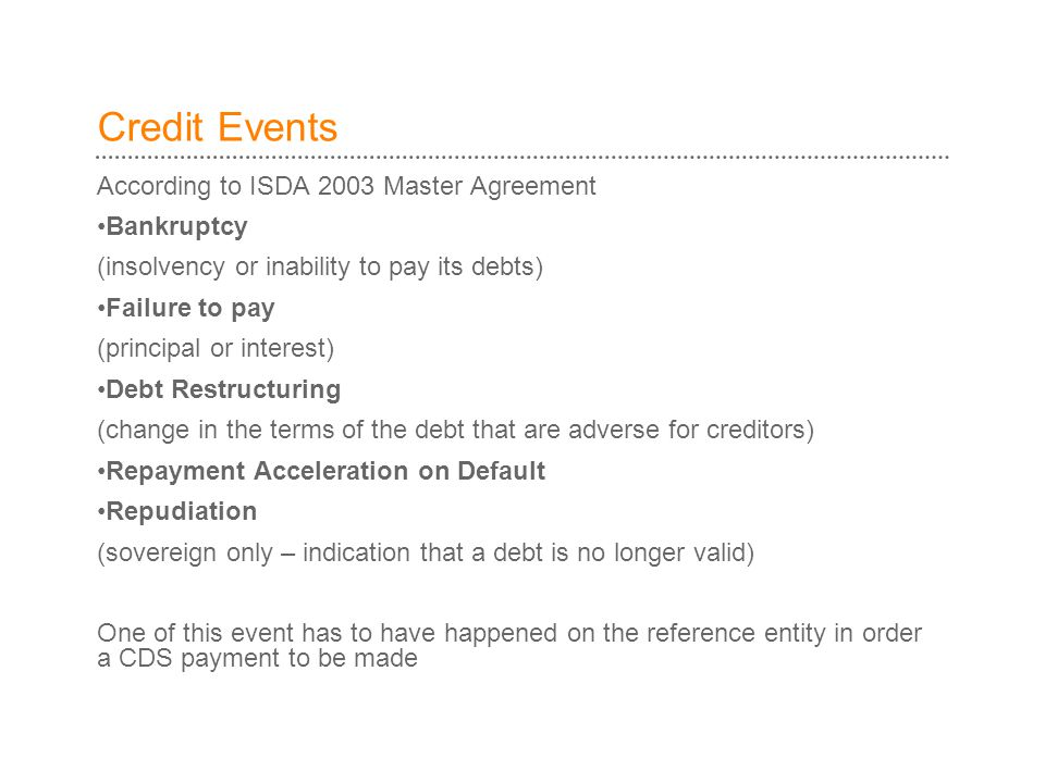 Credit Events According to ISDA 2003 Master Agreement Bankruptcy