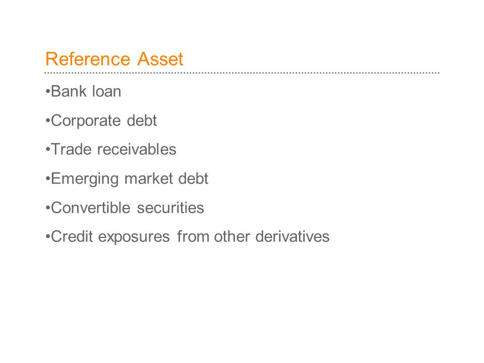 Reference Asset Bank loan Corporate debt Trade receivables